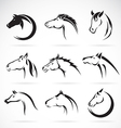 group horse head design vector image vector image