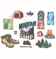 hand drawn camping set with watercolor elements vector image