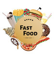 hand drawn fast food design vector image