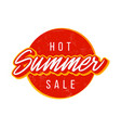 hot summer sale circle with typography text for vector image