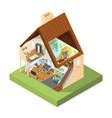house cutaway isometric interior modern house vector image vector image