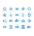 houses flat line icons set home page button vector image vector image