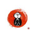 ink painting praying japanese boddhisattva jizo vector image
