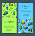 isometric money flow in bank icons vector image