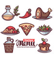 italian menu collection of flat linear food and vector image vector image