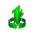 Leader in ecological theme sign Number one with vector image vector image