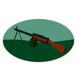 machine gun on white background vector image vector image