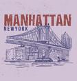 manhattan new york drawing city vector image