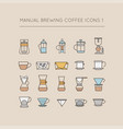 manual brewing coffee icons 1 vector image