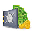 open safe with a lot of money saved vector image vector image