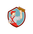 Plasterer Masonry Trowel Shield Cartoon vector image vector image