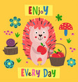 poster colorful hedgehog with a basket apples vector image vector image