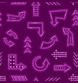 realistic detailed 3d neon arrow seamless pattern vector image vector image