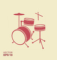 red silhouette of drum in simple style with vector image vector image