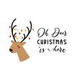 reindeer head with lights christmas santas vector image vector image