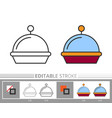 restaurant serving tray cloche linear icon vector image
