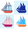 schooner icon set in flat and line styles vector image vector image