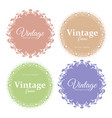 set of round floral vintage vector image