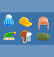 set with different kind of hats and headwears vector image