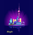 shanghai neon city vector image