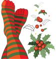 stripy socks with holly vector image