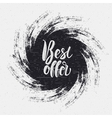 the best offer lettering on ink blot vector image