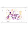 tourists app concept for landing page template vector image vector image