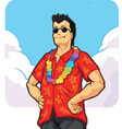 Tropical Island Tourist on Vacation or Holiday vector image vector image