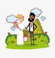 wedding card design cartoon vector image
