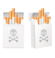 White pack of cigarettes with the image of the vector image