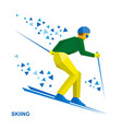 winter sports - skiing skier running downhill vector image vector image