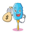 with money bag feather duster character cartoon vector image vector image