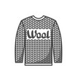 wool emblem with knitted sweater label for hand vector image