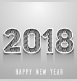2018 happy new year green and gray numbers design vector image