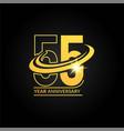 55 years gold anniversary logo with circle swoosh