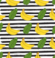 Banana hand drawn sketch striped Seamless Pattern vector image vector image