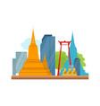 bangkok detailed banner symbols of thailand vector image vector image