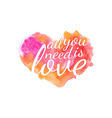 Beautiful watercolor heart with quotes love vector image vector image