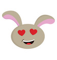 beige rabbit with red heart shaped eyes smiling vector image vector image
