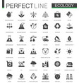 black classic green ecology web icons set vector image vector image