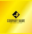 black letter p emblem with golden background vector image vector image