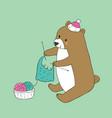 cartoon cute autumn brown bear knitting vector image