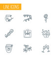 celebration icons line style set with sunflower vector image