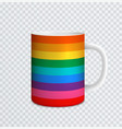 ceramic mug with rainbow spectrum colors vector image