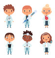 children in the doctor profession in the various vector image