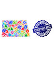 christmas sale collage of mosaic map of north vector image vector image
