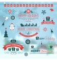 Christmas set labels emblems on winter background vector image vector image