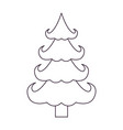 christmas tree silhouette on white background vector image vector image