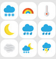 climate flat icons set collection of snow frosty vector image vector image