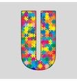 Color Puzzle Piece Jigsaw Letter - U vector image